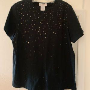 Susan Graver Style Black Sequined Shirt